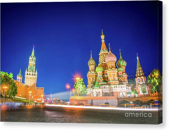 Moscow Canvas Print - Red Square At Night by Delphimages Photo Creations
