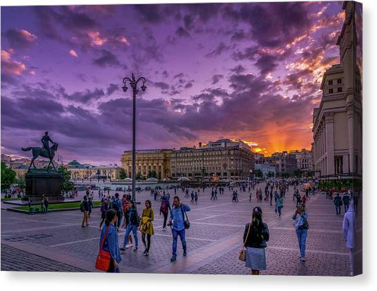 Red Square At Sunset Canvas Print
