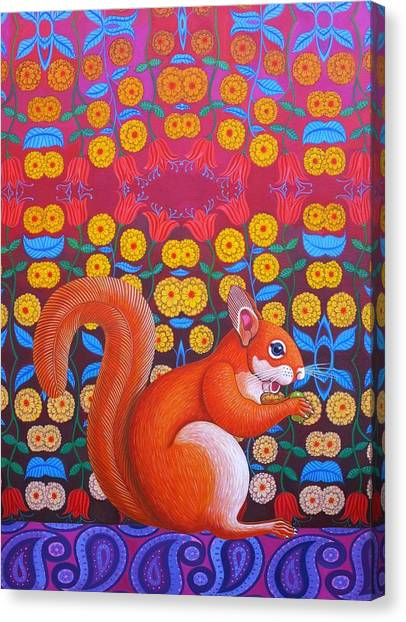Bushy Tail Canvas Print - Red Squirrel by Jane Tattersfield