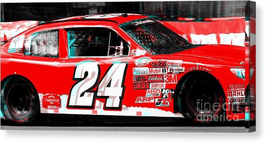 Joe Gibbs Canvas Print - Red Stockcar by Douglas Sacha