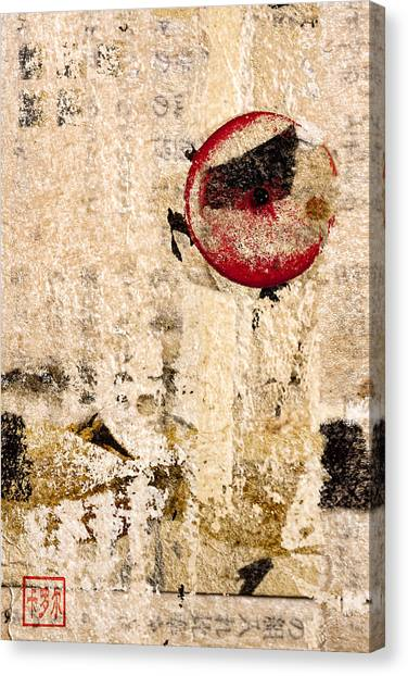 Chinese Calligraphy Canvas Print - Red Sun Collage by Carol Leigh