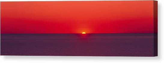 Sunrise Horizon Canvas Print - Red Sunrise Of Lake Michigan by Panoramic Images