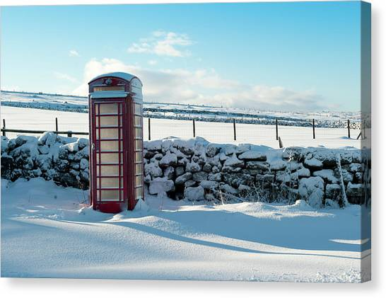 Red Telephone Box In The Snow V Canvas Print