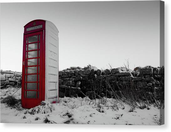 Red Telephone Box In The Snow Vi Canvas Print