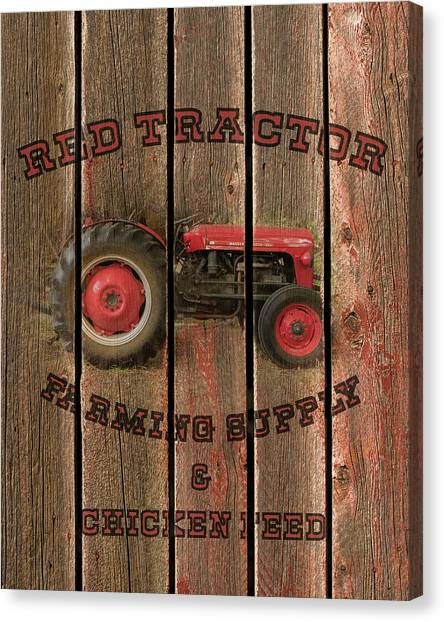 Red Tractor Farming Supply Canvas Print