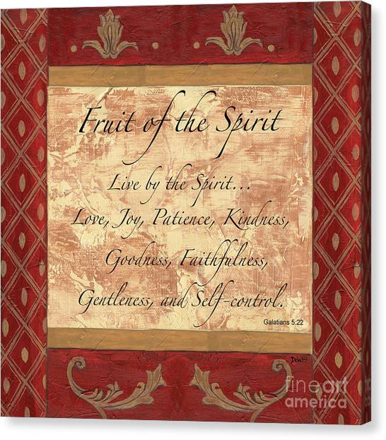 Biblical Canvas Print - Red Traditional Fruit Of The Spirit by Debbie DeWitt