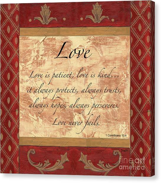 Biblical Canvas Print - Red Traditional Love by Debbie DeWitt