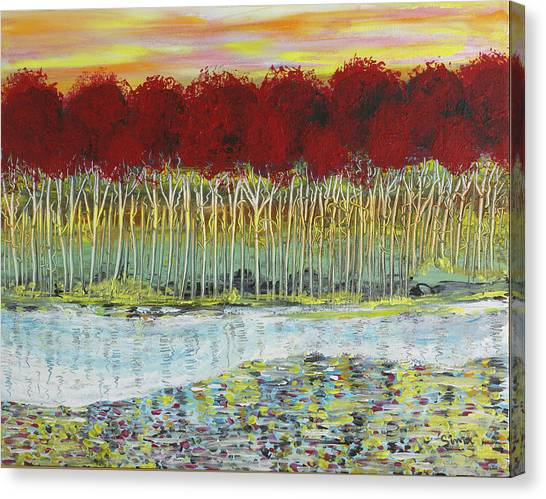Red Trees At Water Canvas Print