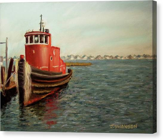 Red Tugboat Canvas Print by Joan Swanson