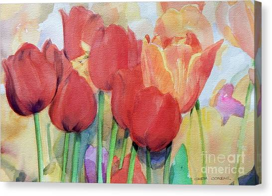 Watercolor Of Blooming Red Tulips In Spring Canvas Print