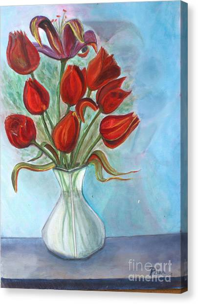 Red Tulips Canvas Print by Pilar  Martinez-Byrne