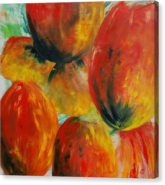 Red Tulips Canvas Print by Veronique Radelet
