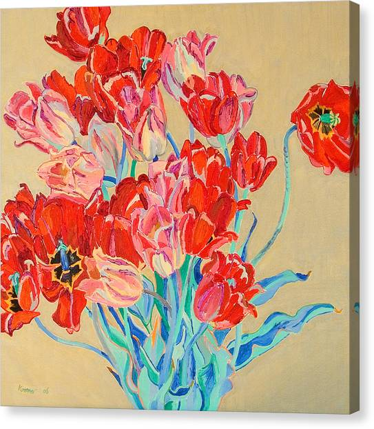Red Tulips With Gold Background Canvas Print by Vitali Komarov