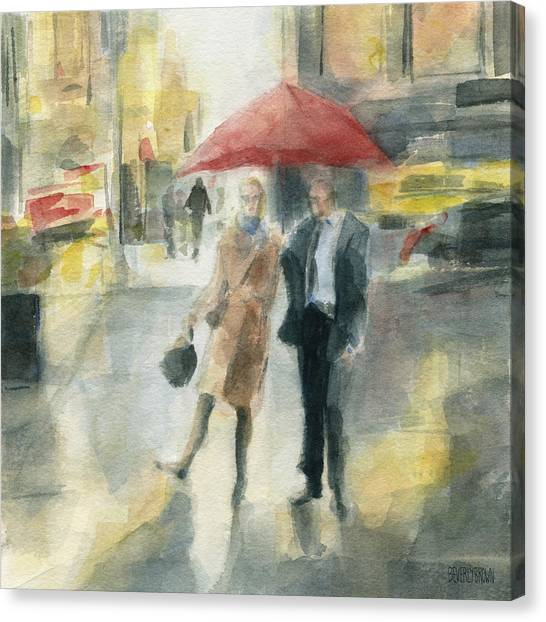 Rainier Canvas Print - Red Umbrella New York City by Beverly Brown Prints