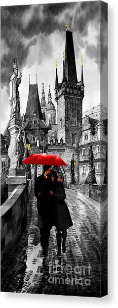 Mixed-media Canvas Print - Red Umbrella by Yuriy Shevchuk
