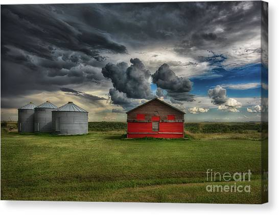 Saskatchewan Canvas Print - Red Under Grey by Ian McGregor