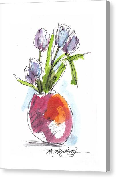 Red Vase With Tulips Canvas Print