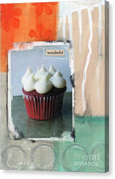 Cakes Canvas Print - Red Velvet Cupcake by Linda Woods