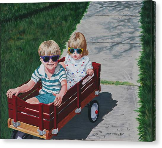 Red Wagon Canvas Print