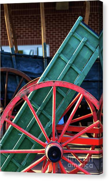 Red Wagon Wheel Canvas Print