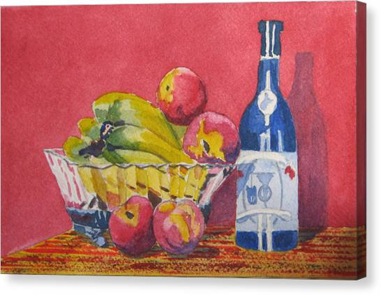 Red Wall Blue Wine Canvas Print by Libby  Cagle