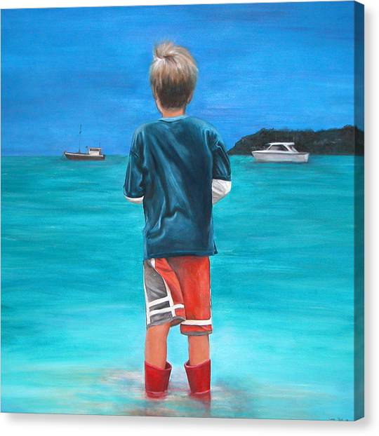 Red Wellies Canvas Print by Fiona Jack