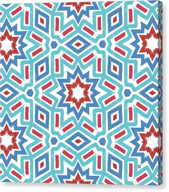 Independence Day Canvas Print - Red White And Blue Fireworks Pattern- Art By Linda Woods by Linda Woods