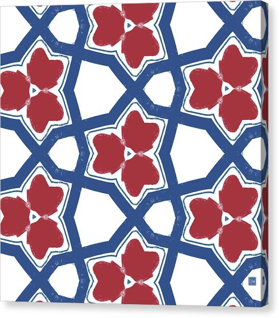 Pattern Canvas Print - Red White And Blue Floral Motif- Art By Linda Woods by Linda Woods