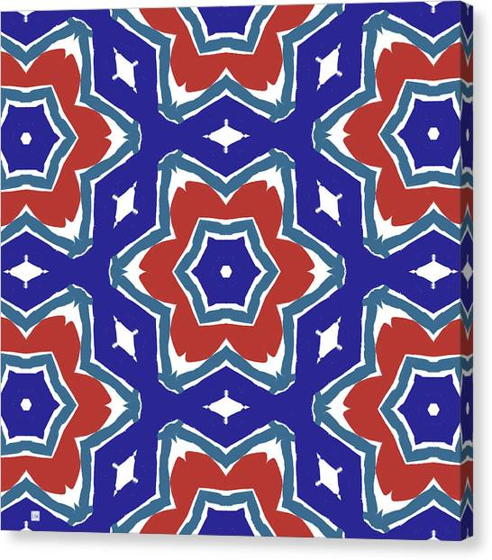 Picnic Canvas Print - Red White And Blue Star Flowers 1- Pattern Art By Linda Woods by Linda Woods
