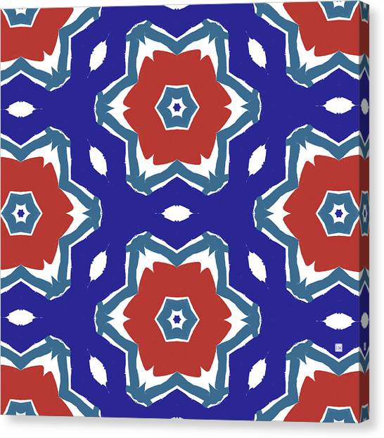 Pattern Canvas Print - Red White And Blue Star Flowers 2 - Pattern Art By Linda Woods by Linda Woods