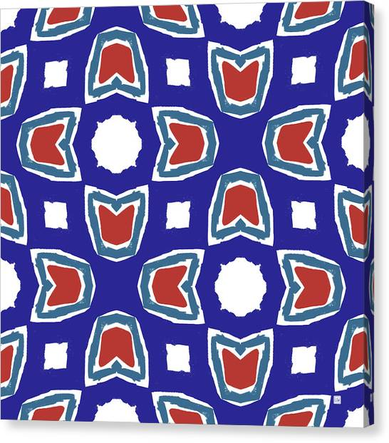 Pattern Canvas Print - Red White And Blue Tulips Pattern- Art By Linda Woods by Linda Woods