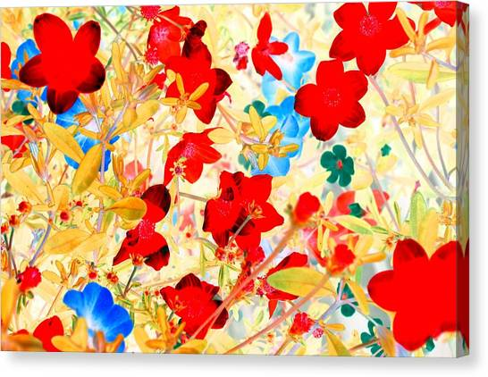 Canvas Print featuring the photograph Red Wild Flowers by Marianne Dow