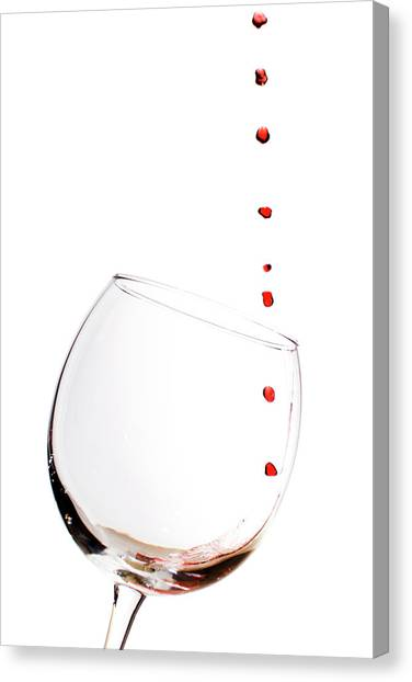 Red Wine Drops Into Wineglass Canvas Print