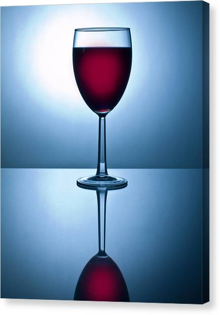 Red Wine With Reflection Canvas Print by David Thompson