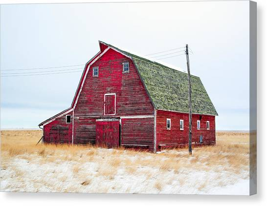 Barns Canvas Print - Red Winter Barn by Todd Klassy