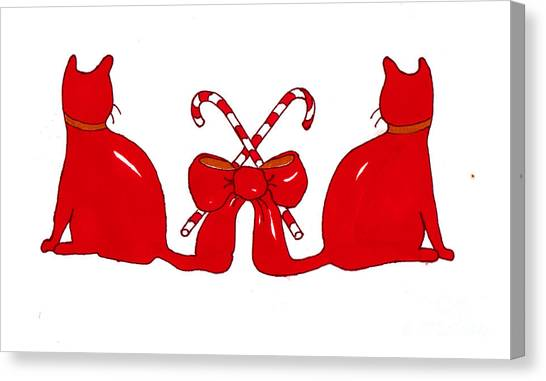 Red Xmas Ribbon Cats Canvas Print