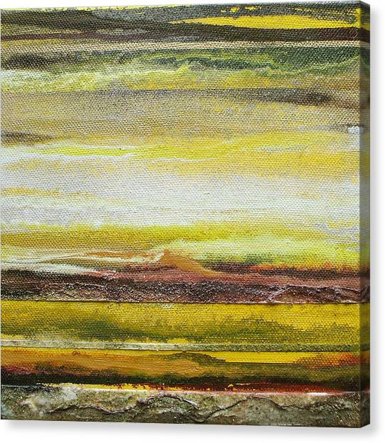 Redesdale Rhythms And Textures Series No3 Yellow And Sepia Canvas Print by Mike   Bell