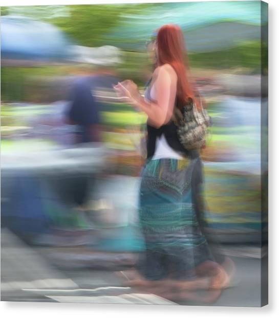 Canvas Print featuring the photograph Redhead, Blue Green Skirt by Dutch Bieber