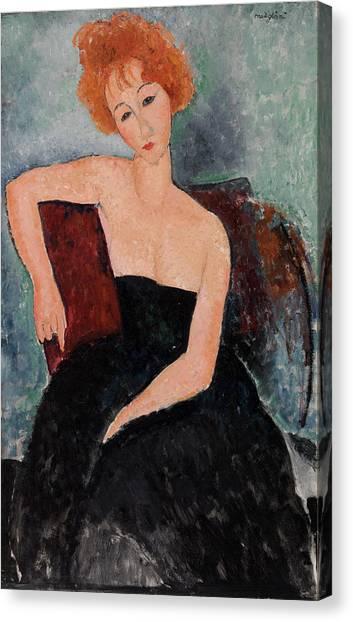 Redhead Canvas Print - Redheaded Girl In Evening Dress by Amedeo Modigliani