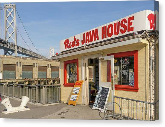 Reds Java House And The Bay Bridge At San Francisco Embarcadero Dsc5761 Canvas Print