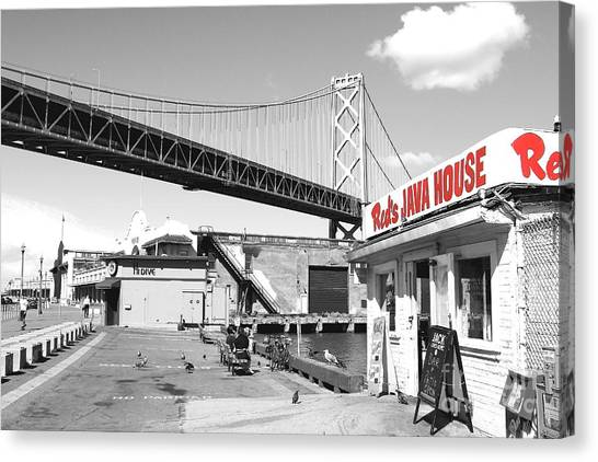 Reds Java House And The Bay Bridge In San Francisco Embarcadero . Black And White And Red Canvas Print