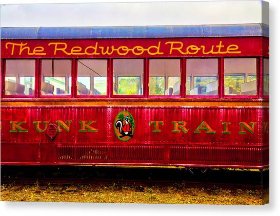 Stock Cars Canvas Print - Redwood Route Coach Car by Garry Gay