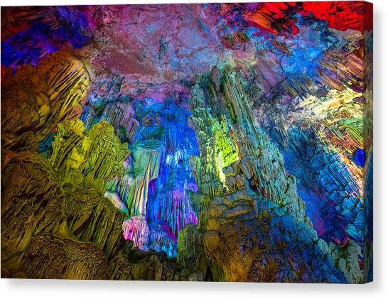 Limestone Caves Canvas Print - Reed Flute Cave Guilin by Judith Barath