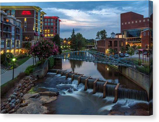City Sunset Canvas Print - Reedy River View At Sunset by Janet Barnes