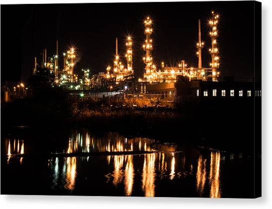 Refinery At Night 1 Canvas Print
