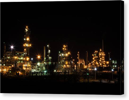 Refinery At Night 2 Canvas Print