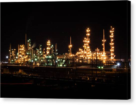 Refinery At Night 3 Canvas Print