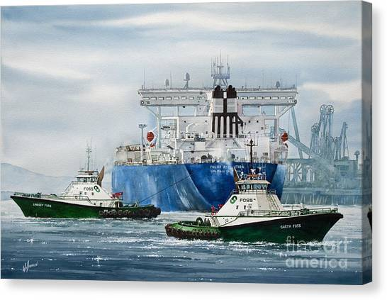 Tugboat Canvas Print - Refinery Tanker Escort by James Williamson