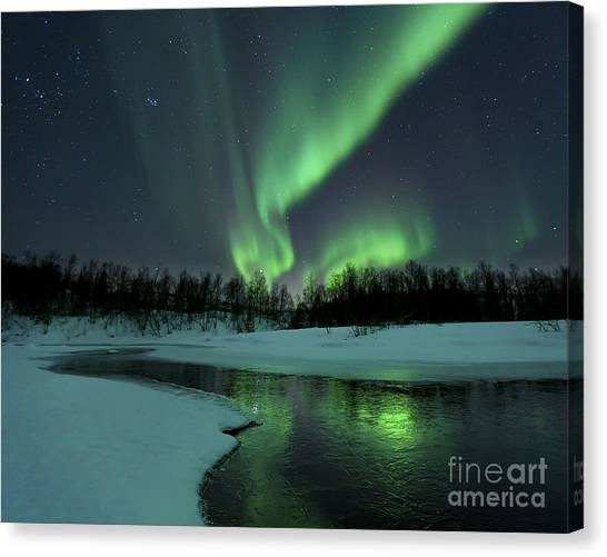 Night Lights Canvas Print - Reflected Aurora Over A Frozen Laksa by Arild Heitmann
