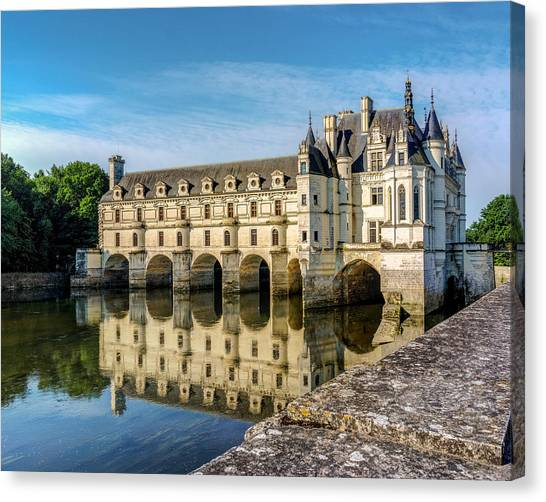 Reflecting Chateau Chenonceau In France Canvas Print